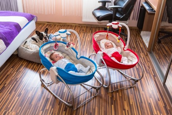 Baby twins lying down in cradles